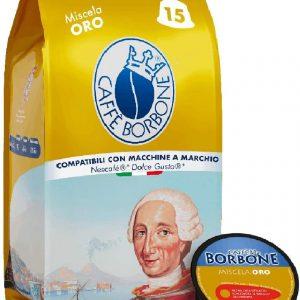 Caffè Borbone Miscela Oro - 90 capsule (6 confezioni da 15 capsule) /1 confezione da 15 capsule Compatibili Nescafè, Dolce Gusto