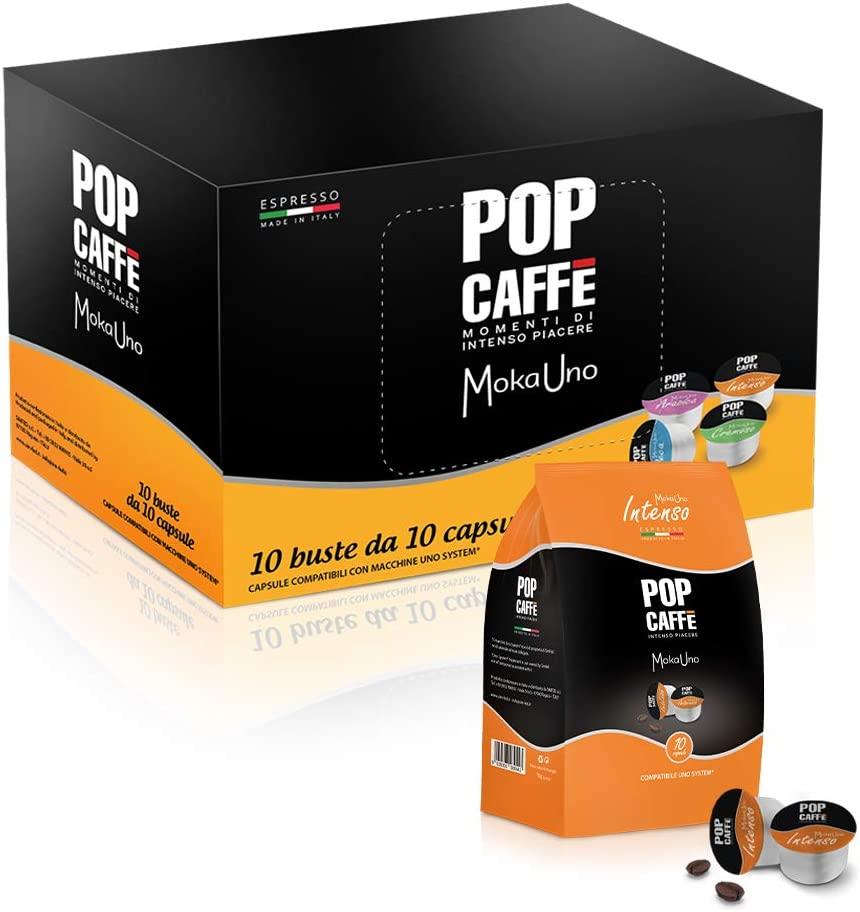 POP CAFFE' MOKA UNO .1 MISCELA INTENSO 100 CAPSULE COMPATIBILI UNO SYSTEM