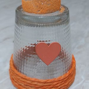 bicchiere a candela con cuore arancio