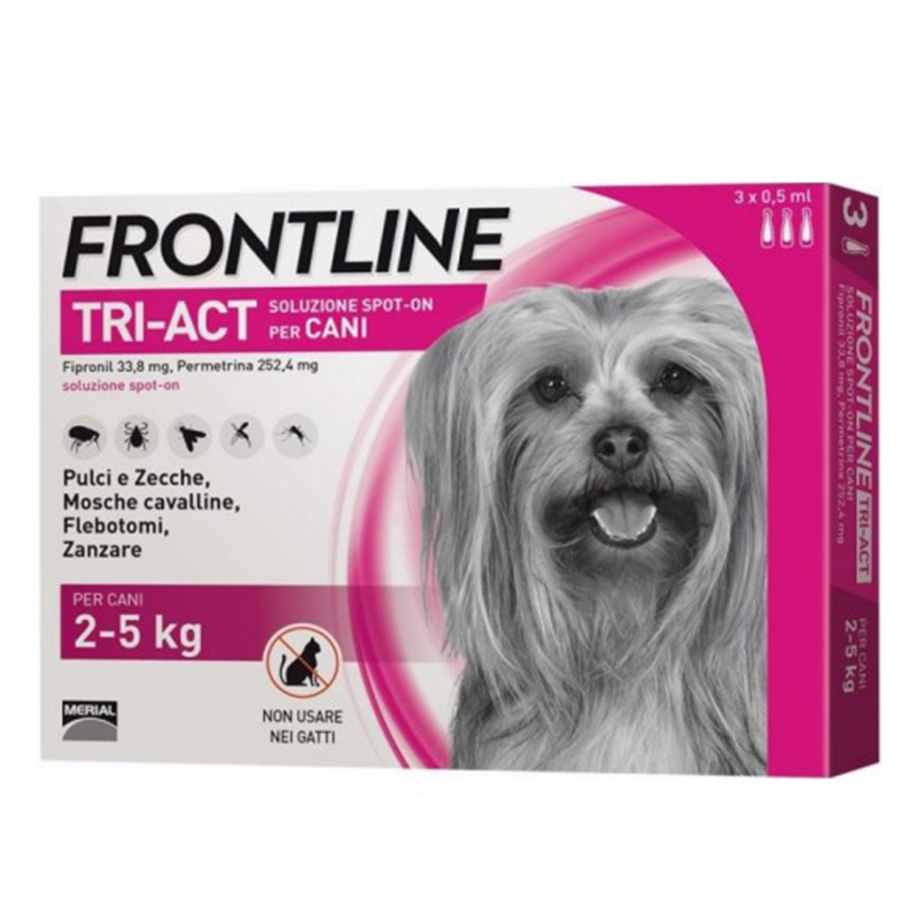 frontline tri-act spot-on per cani di 2-5 kg