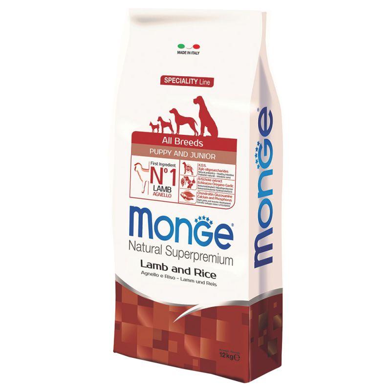 Monge superpremium all breeds puppy junior agnello & riso da 12 kg